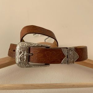 Vintage Brown Tooled Leather Belt Silver Buckle